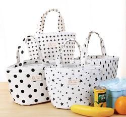 KC-CB03 Cotton Linen Lunch Tote Bag Drawstring Portable Travel Picnic Cooler Insulated Handbag