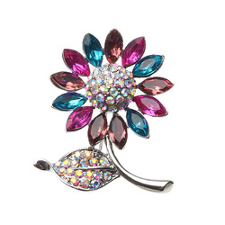Elegant Colorful Crystal Rhinestone Sunflower Brooch Exquisite Pin for Men and Women