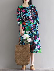 Floral Print O-neck Pocket 3/4 Sleeve Dresses