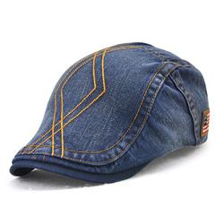 Unisex Cotton Washed Striped Beret Hat Duckbill Golf Buckle Adjustable Visor Cabbie Cap