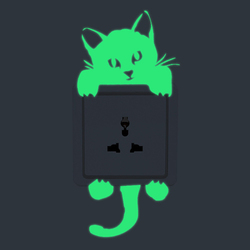 Cat Creative Luminous Switch Sticker Removable Glow In The Dark Wall Decal Home Decor