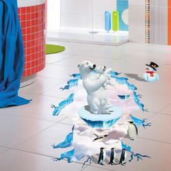 3D Polar Bear Penguin Living Room Bedroom Animals Floor Background Wall Decor Creative Stickers