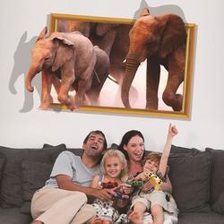 3D Elephant Walking Living Room Bedroom Animals Floor Background Wall Decor Creative Stickers