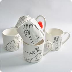 KC-MUG05 Four Cartoon Animals Ceramic Milk Cup Coffee Mug Tea Glass Tea Cup Tumbler
