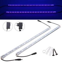 2PCS 50CM 5050 SMD UV Purple LED Strip Aluminum Tube Bar Light + Power Supply
