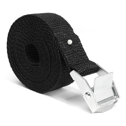 2.5m x 25mm Black Nylon Cargo Tie Down Luggage Cargo Lashing Strap Cam Buckle