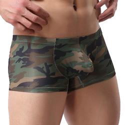 Mens Sexy Camoflage Printing U Convex Low Rise Boxer Casual Fashion Underwear