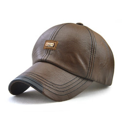 Men Vintage Man-made Leather Baseball Cap Outdoor Windproof Warm Hats Adjustable Sports Caps