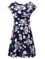 Summer Women Printed Short Sleeve V-Neck Slim A-Line Dresses