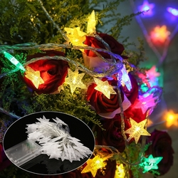 Battery Operated 50LEDs Star Fairy String Light Indoor Outdoor for Christmas Party DC4.5V