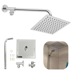 8inch 304 Stainless Steel Square Shower Head Extension Arm Bottom Entry Shower Diverter Valve Set