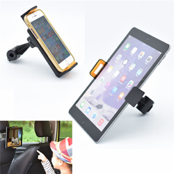 Universal 360° Rotation Car Back Seat Clamp Head Rest Mount Holder for 4-12 inches Phone Tablet