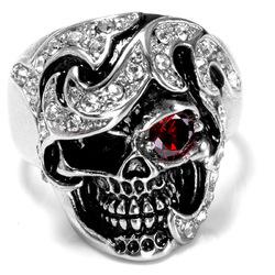 Halloween Fashion Jewelry Stainless Steel Skull Head Zircon Ring for Men
