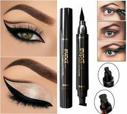 2 in 1 Black Liquid Eyeliner Wing Seal Stamp Pencil Quick Dry Waterproof Makeup