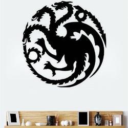 T-18 Game Of Thrones Tangeri Lian Targaryen Family Emblem Three Gold Dragon Carved Wall Stickers