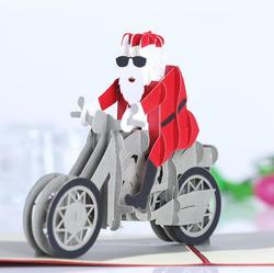 Christmas 3D Motorcycle Santa Claus Pop Up Greeting Card Christmas Gifts Party Greeting Card
