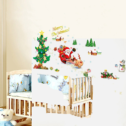 Christmas Wall Stickers Christmas Tree Santa Claus Window Can Remove Wall Stickers