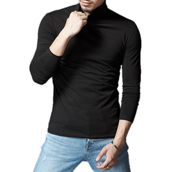 Autumn Winter Mens Long-sleeved Solid Color High-necked T-shirt Mens Blank Culture Shirt T-Shirt