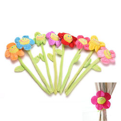 Lovely Smiling Face Sunflowers Curtain Buckle Straps Velvet Curtain Accessories Cartoon Flower Sunflower Curtain Buckle Hook Clips Children Plush Toys for Wedding Gifts Family Home Decor