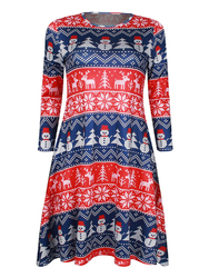 Christmas Printed Round Neck 3/4 Sleeve Elastic Mini Dress For Women