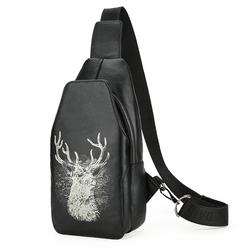 Fashion Genuine Leather Men Bag Chest Bag Business Casual Crossbody Shoulder Bag
