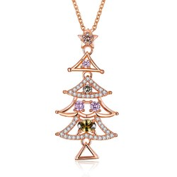 INALIS Women's Sweet Delicate Christmas Tree Zircon Necklace