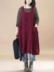 Vintage Women Sleeveless Pocket Drawstring Solid Color Baggy Dress