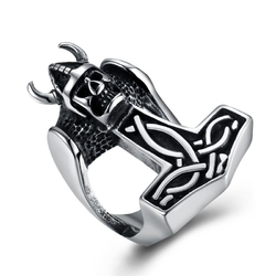 Punk 316L Stainless Steel Skull Ring Vintage Warrior Ring for Men