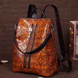 Brenice Women Brush Color Backpack Embossed Shoulder Bag
