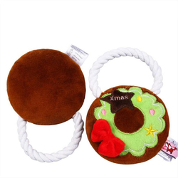 Christmas Style Decoration Pet Dog Interactive Sound Voice Toy Dog Chew Teeth Training Toy Rope Knot  Wreath With Handle
