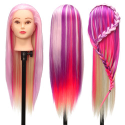 27'' Colorful Practice Training Head Long Hair Mannequin Hairdressing Salon Model