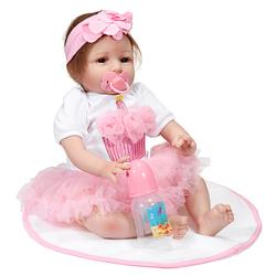 22 Inch Handmade Vinyl Silicone Reborn Baby Dolls Lifelike Toddler Girl Doll Gift Christmas