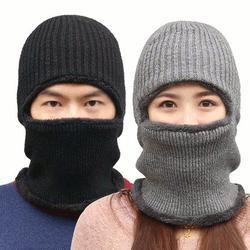 Knitted Hat Scarf Cap Neck Warmer Winter Siamese Hood Hats For Men Women Skullies Beanies Fleece