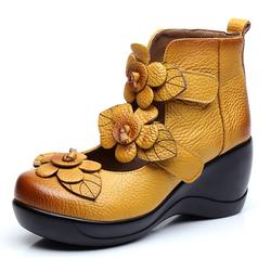 SOCOFY Women Genuine Leather Flower Retro Hook Loop Platporm Shoes