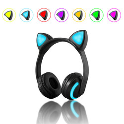 Bluetooth Cat Ear LED Light Headphone Headset Earphones 7 Colors For Tablet Cellphone