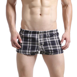 Mens Pouch Plaid Printing Cotton Home Boxers Arrow Shorts