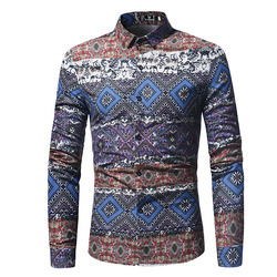 Fashion National Printing Long Sleeve Lapel Casual Shirt for
