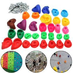 Category: Dropship Outdoor Recreation, SKU #1259536, Title: Children's Climbing Wall Stones Holds Hand Feet Starter Kit Rock Holder w/Screws