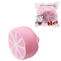 Half Shiny Pink Lemon Squishy 11x9.5cm Slow Rising With Packaging Collection Gift Soft Toy