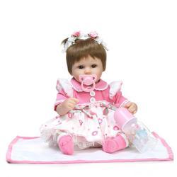 NPK 16 Inch 42cm Reborn Baby Two Pigtail Soft Silicone Doll Handmade Lifelike Baby Girl Dolls