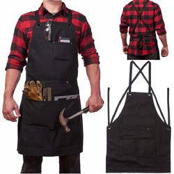 Heavy Duty Waxed Canvas Work Hobby Apron Large Pocket Fits Small to XXL Black