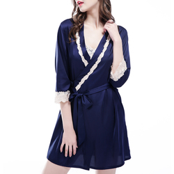 Silk Middle Sleeve Straps Lace-Trim Thin Sexy Nightgown