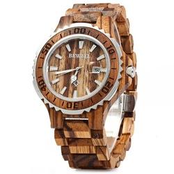 BEWELL ZS-100BG Luminous Hands Calendar Wood Watches