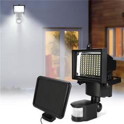 100 LED Solar Powered PIR Motion Sensor Flood Light Outdoor Garden Security Wall Lamp