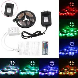 5M 24W Waterproof 3528SMD RGB LED Strip Lights + 44 Keys Remote Control US EU Power Adapter DC12V