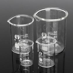 4Pcs Graduated Borosilicate Glass Beaker 5ml 10ml 25ml 50ml Set Volumetric Laboratory Glassware