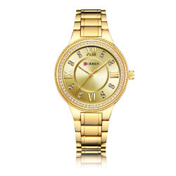 CURREN 9004 Diamonds Casual Style Stainless Women Watches