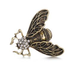 Vintage Cicada Insect Brooch Steampunk Bronze Rhinestone