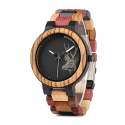 BOBO BIRD W*P14-2 Elk Deer Head Colorful Band Quartz Watches