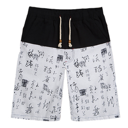 Chinese Style Mens Cotton Linen Printing Knee-Length Shorts